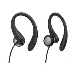 PHILIPS InEar Earhook Headphones Black 15mm speaker driver optimizes wearing comfort